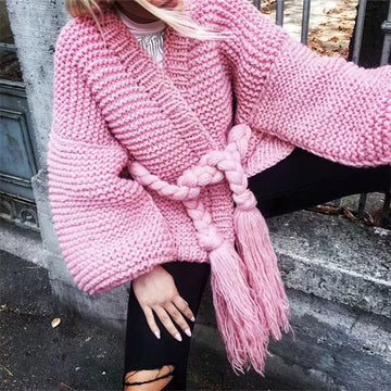 Coarse Wool Sweaters Pink Hand Knitted Cardigans Loose Rough Wool Knitted