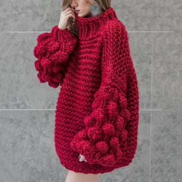 Knitting Pullover Sweater Women Lantern Sleeve Turtleneck Jumpers