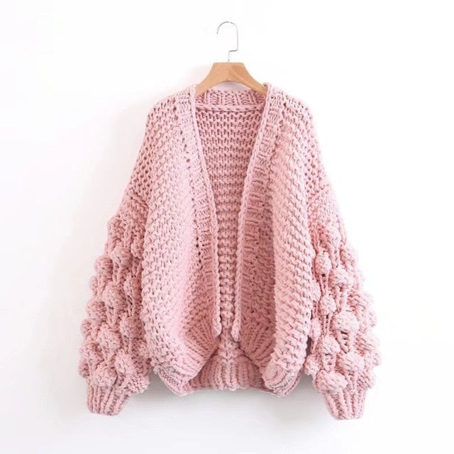 Sweater Female Cardigan Hollow Out Hair Bulb Lantern Sleeve