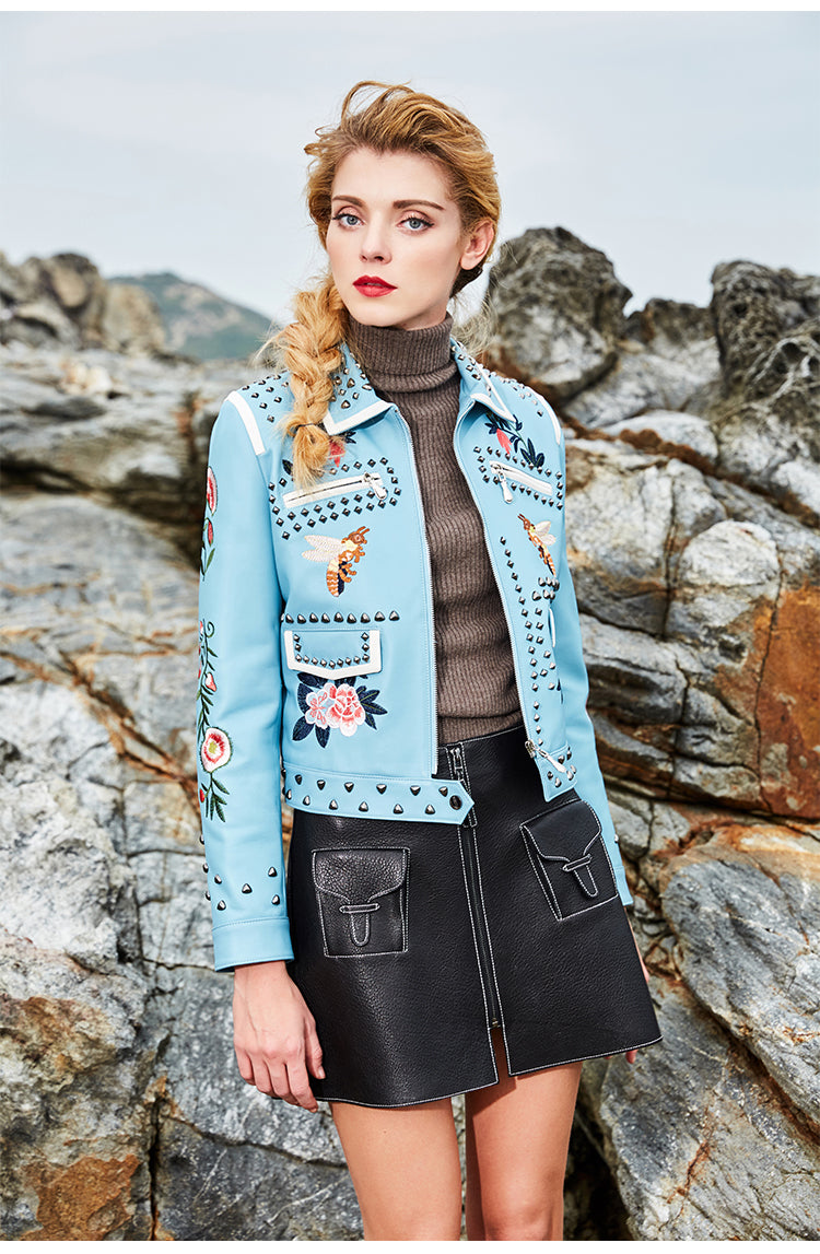 Geniune Leather Jacket Sheepskin Leather Rivet Embroidery Outwear
