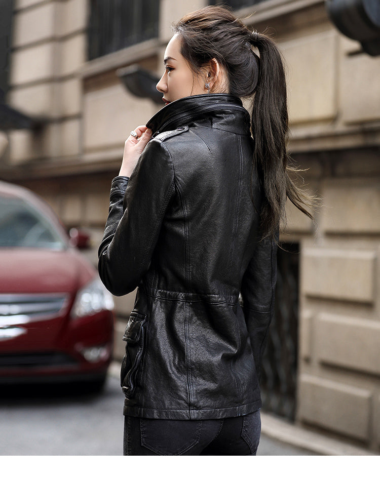 Leather Jacket for Women Sheepskin Leather Slim