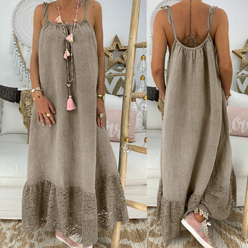 Loose Spaghetti Strap Maxi Slip Dress Long Lace