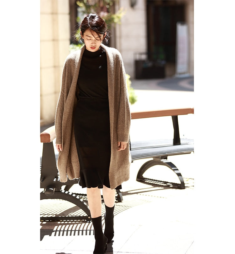 Casual Brief Oversized Long Yakwool Sweater Cardigans