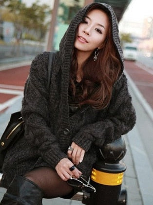 Knitted Hooded Cardigan Sweater Warm Loose Outwear