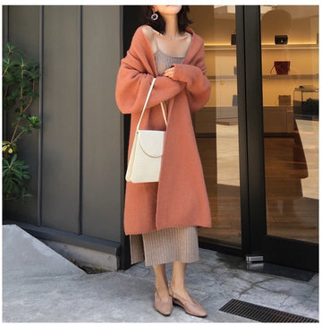 Winter Cardigan Coat Oversize Long Solid Color