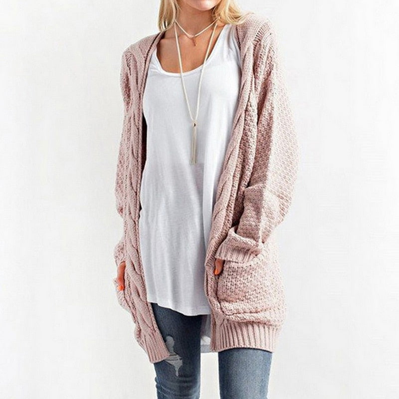 Sweaters Jersey o Long Cardigan Long Sleeve Knitted Twist Sweater Cardigan