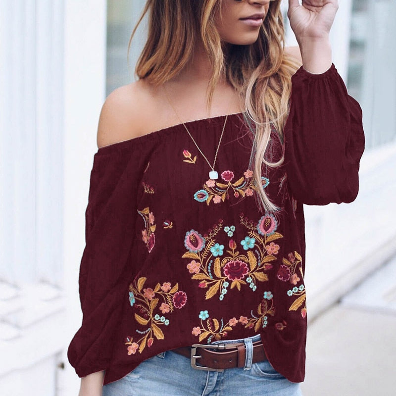 Tops Leisure Summer Fall Casual Off Shoulder Sexy Printed Boho Loose Floral Print Ladies Beach