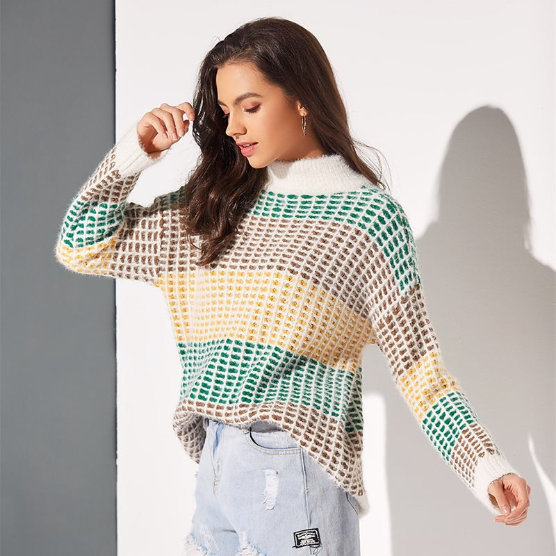 Boho Winter Turtleneck Sweaters  Casual Loose Thick