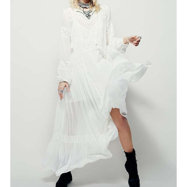 Fall Long Sleeve Cotton Linen Dress Autumn Ethnic Embroidery Hippie Boho Maxi Robe Long Dress