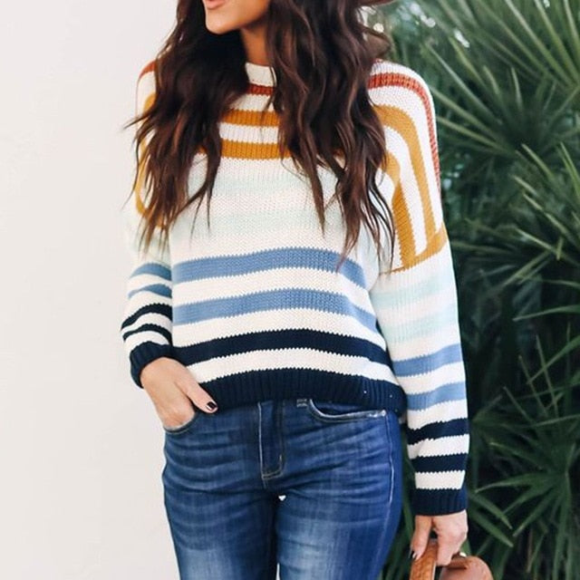 Fall Boho Casual Blue Travel Plus Size Sweaters Women