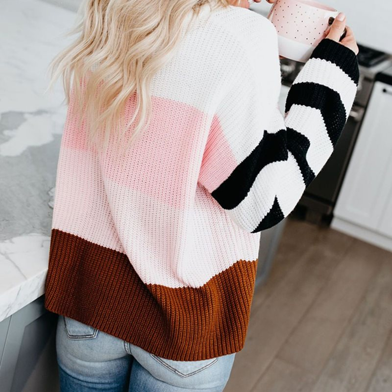 Fall Elegant Casual Boho Plus Size African Fashion Sweaters Women Pink Loose