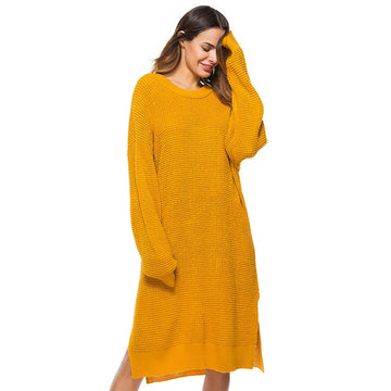 Vintage Mustard Side Slit Crochet Sweater Retro Cosy Loose Split Boho Pullover Dresses