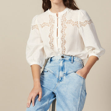 French Romantic hollow out Embroidery  Button white cotton shirt Blouse