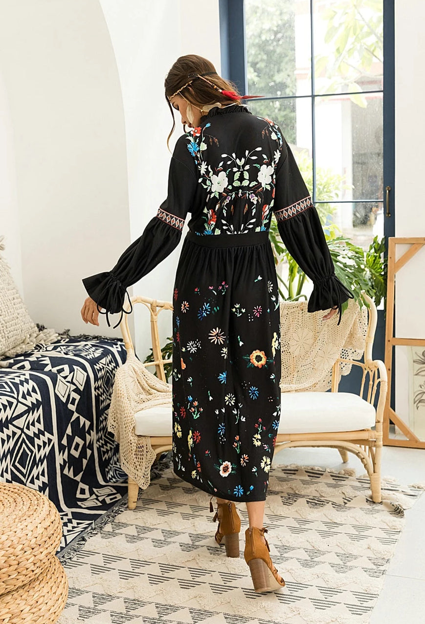 Bohemian Floral Dress Black V Neck Long Sleeve High Waist Swing Dress