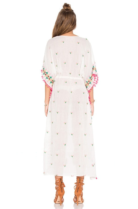 Embroidery Floral Half Sleeve Midi Fall Dress V Neck Sexy Bohemian Casual Spring Women Drawstring Tassel Tunic Dress
