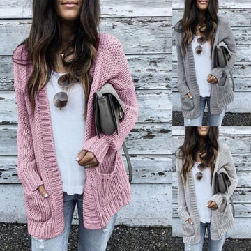 Knitted Sweater Cardigan Solid Side Pocket Knitting Jumper Coat
