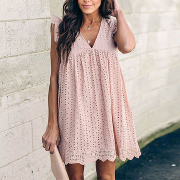 MOMO V-Neck Lace Hollow Out Short Dress Ruffles High Waist Pink