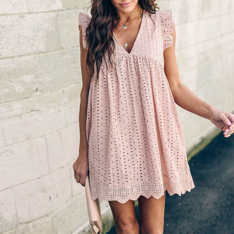 V Neck Lace Hollow Out Short Dress Ruffles High Waist Pink
