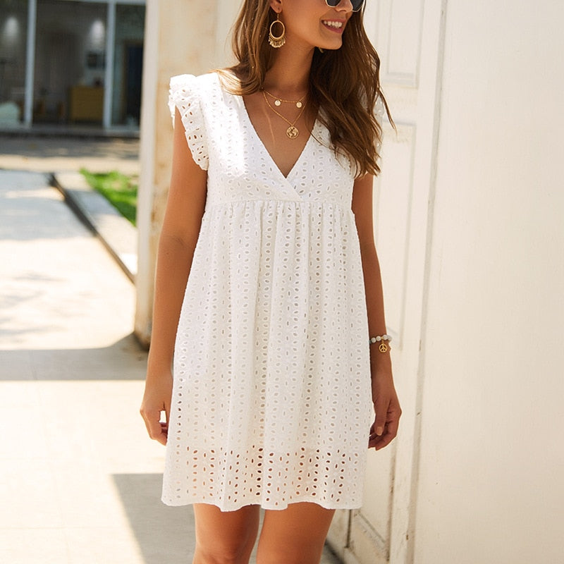 Elegant Lace Hollow Out Anthropologie Dress Ruffles Pleated Cotton White Short Dress
