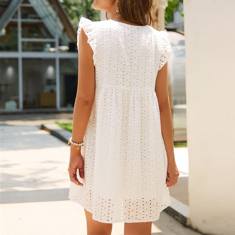 Elegant Lace Hollow Out Dress Ruffles Pleated Cotton White Short Dress