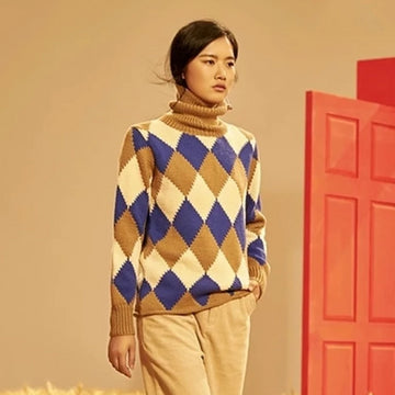 Hand made pure wool knit contrast color turtleneck argyle loose pullover sweater Cindy