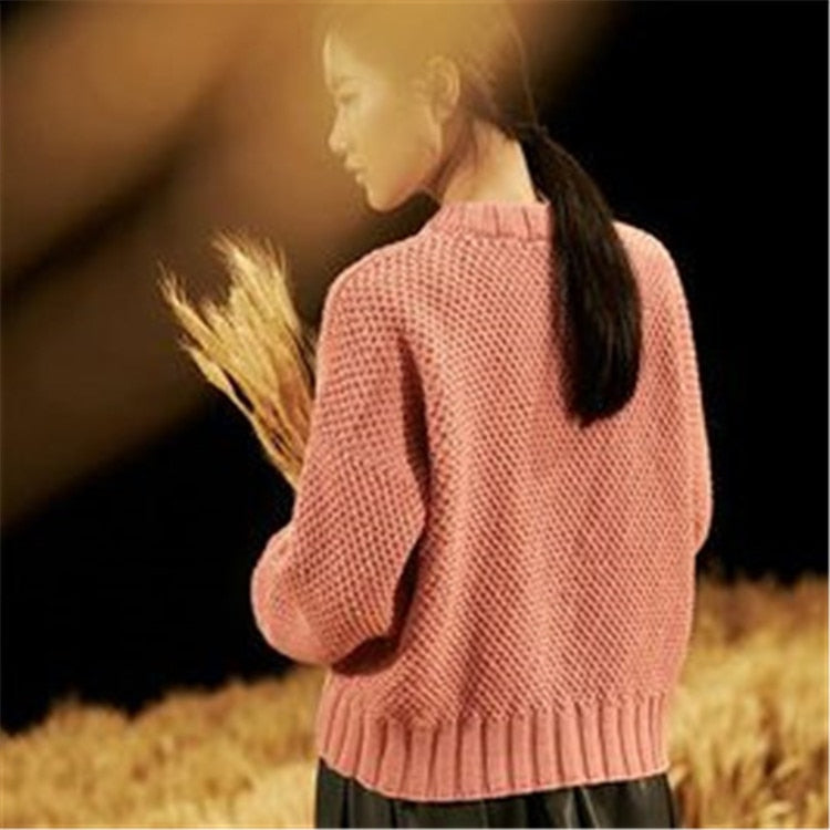 Pure wool double Oneck twisted knit women streetwear loose solid short pullover sweater