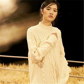 Pure wool knit women fashion vertical striped Oneck solid open hem pullover sweater white