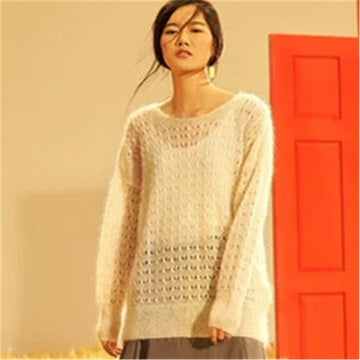 Wool solid knit women fashion hollow out thin pullover sweater black