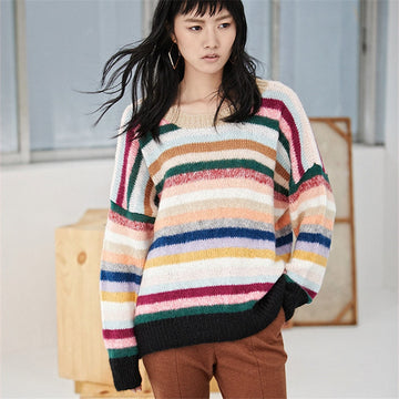 Hand made wool Oneck thin knit women streetwear loose rainbow striped H-straight short pullover sweater