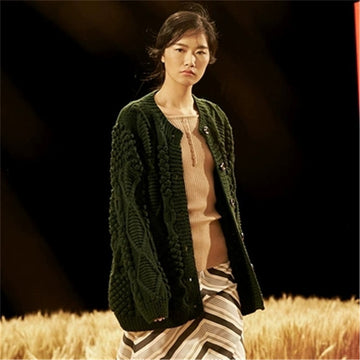 Hand made pure wool Oneck knit women fashion solid loose twisted cardigan sweater