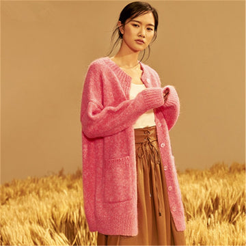 Wool thick Oneck knit women fashion loose single breasted lantern sleeve cardigan long sweater