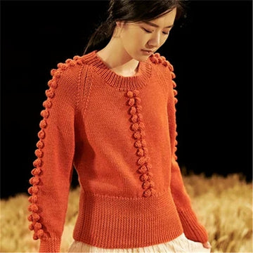Pure wool Oneck knit women fashion solid loose short pullover sweater cute ball sleeve