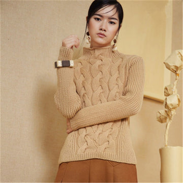 Pure wool knit women streetwear half high collar solid H-straight short pullover sweater