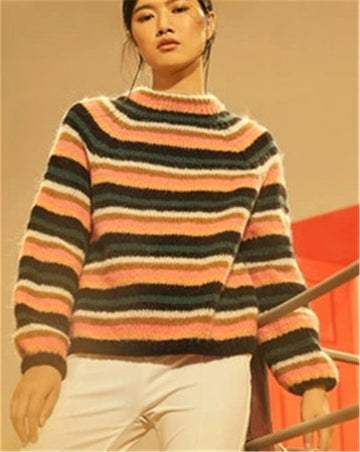 Hand made wool thick knit women vintage striped Oneck loose