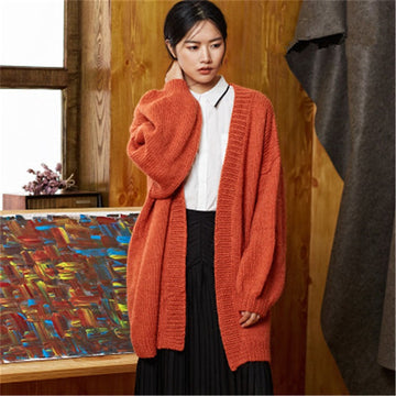 Hand made wool Vneck knit solid lantern sleeve loose H-straight long cardigan