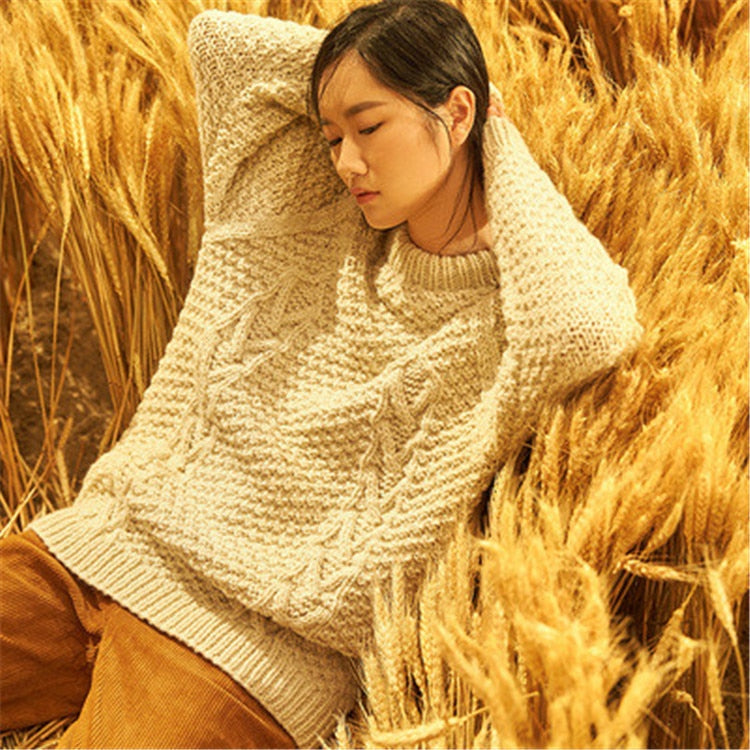 Hand made wool Oneck thick knit women fashion solid H-straight pullover sweater