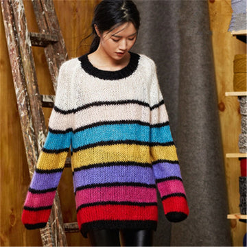 Hand made wool Oneck thin knit women fashion rainbow striped H-straight pullover sweater