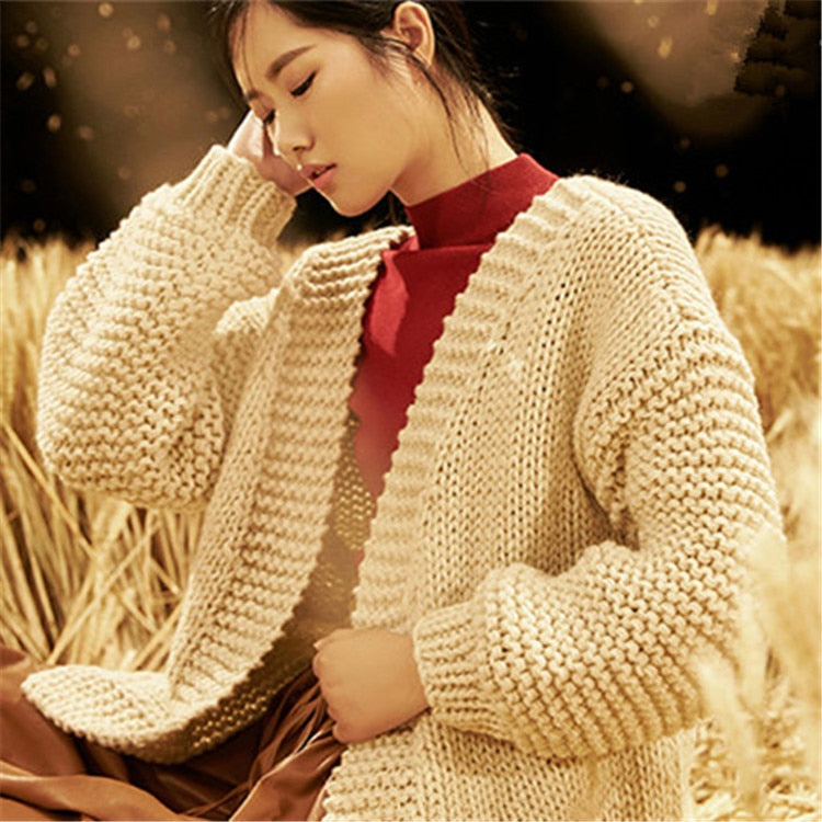 Hand made wool Vneck knit women sweet heart pattern loose thick cardigan sweater