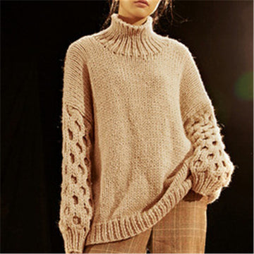 Hand made wool thick knit women fashion loose turtleneck lantern sleeve pullover sweater