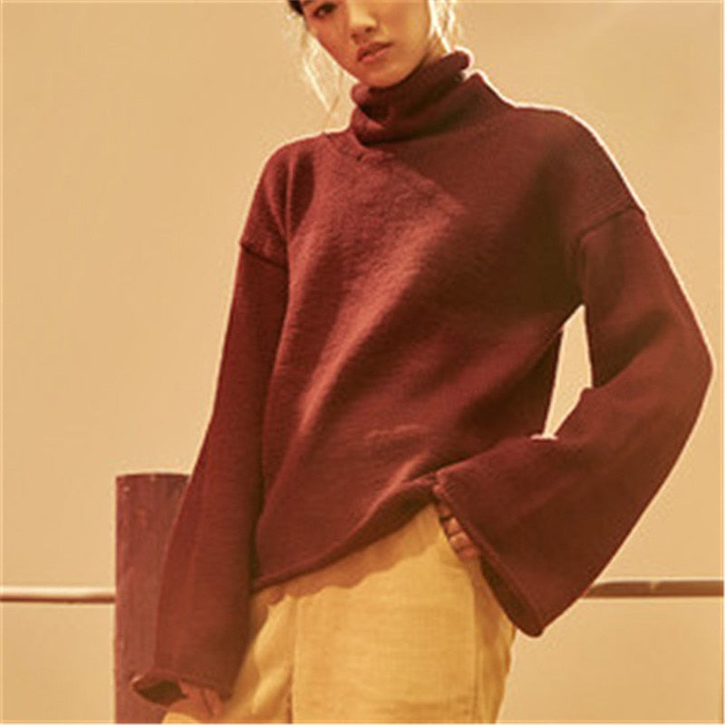 Hand Made Wool Knit Short Turtleneck Sleeve Pullover Sweater