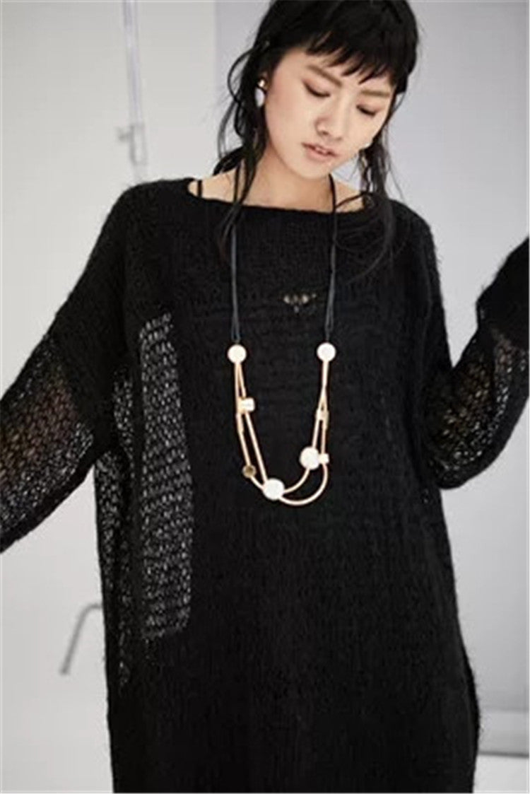 Hand made wool thin knit women fashion Oneck solid long pullover sweater