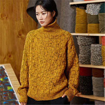 Pure wool turtleneck thick knit women streetwear loose H-straight pullover sweater