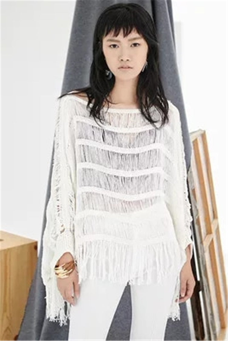 Hand made pure cotton thin knit women fashion hollow out Oneck tassel short pullover sweater