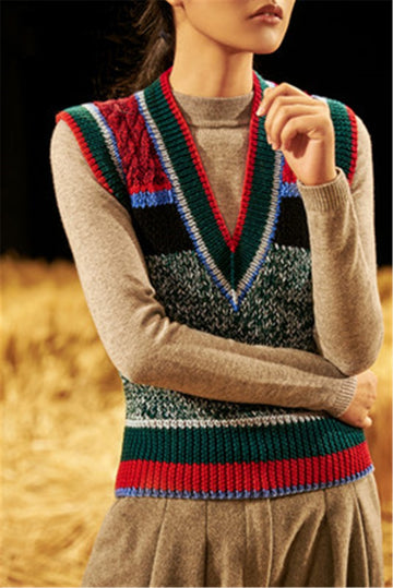 Hand made pure wool knit women fashion Vneck sleeveless contrast color striped