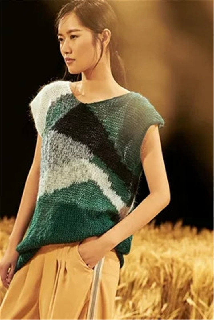Hand made wool thin knit women patchwork Oneck hollow out pullover sweater short sleeve