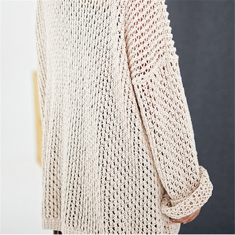 Hand made pure cotton low O-neck thin knit women streetwear