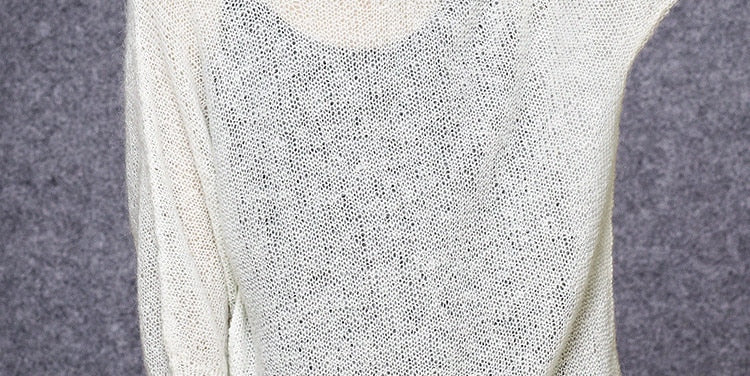 Hand made wool thin knit Oneck hollow out pullover sweater Abby