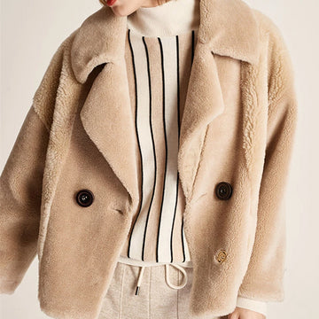 Hand Made Pure Wool Tailored Collar Knit Streetwear Single button Short Cardigan Jacket
