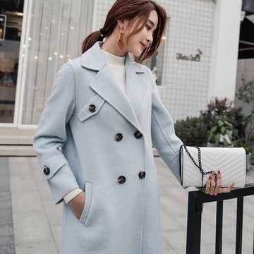 Wool Cashmere Coat V-neck Winter Warm Small MiG Cashmere