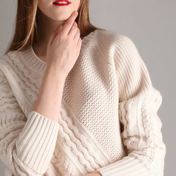 Pure goat cashmere thread knit women fashion thick pullover sweater beige white